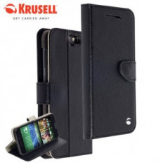 Husa Krusell HTC One A9 + stylus - Husa Telefon Krusell, Negru, Piele, Cu clapeta