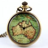 Ceas de buzunar, de epoca, vechi, suvenir, de bronz, cuart, harta Australiei