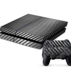 Skin Sticker PS4 - Negru - Fibra Carbon - Consola +2 controllere - PlayStation 4