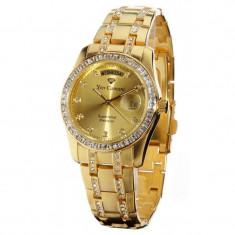 Ceas Yves Camani Auron gold original - Ceas dama Yves Camani, Lux - elegant, Quartz, Inox, Piele, Data