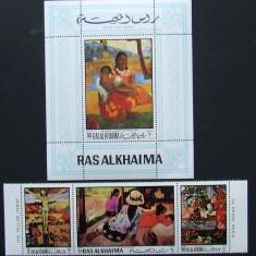 RAS AL KHAIMA - PICTURA GAUGUIN, 3 VALORI SI 1 S/S, NEOBLITERATE - RAK 13, Arta