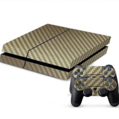 Skin Sticker PS4 - Auriu - Fibra Carbon - Consola +2 controllere - PlayStation 4