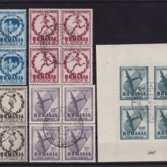 ROMANIA 1948, LP 228, JOCURILE BALCANICE BLOC DE 4 STAMPILATE 20/02/1948 - Timbre Romania