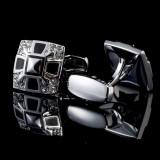 Butoni argintii cristale negre albe metalici  + cutie simpla cadou, Inox