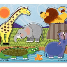 Puzzle Melissa & Doug de lemn Atinge si descopera Animale Zoo Melissa and Doug