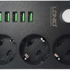 Prelungitor, 3 Prize, Intrerup., 250V/10A - 6xUSB, 5V/3.4A - Cablu si prelungitor