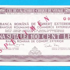 Bon 100 lei Cec de Calatorie Cheque de Voyage SPECIMEN UNC - Bancnota romaneasca