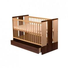 Patut Copii Lemn Cu Sertar Paula Natur Wenge - Patut lemn pentru bebelusi Klups, 120x60cm, Maro