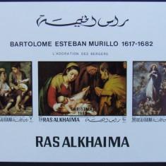 RAS AL KHAIMA - PICTURA MURILLO, 1 M/SH NEDANTELATA, NEOBLITERATA - RAK 15C, Arta