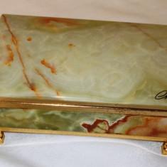 Cutie bijuterii - Alabastru / Onix + alama - lucrata manual - Italia