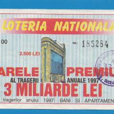 Bilet loto 2500 lei 1997 2 - Bilet Loterie Numismatica