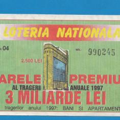 Bilet loto 2500 lei 1997 1 - Bilet Loterie Numismatica