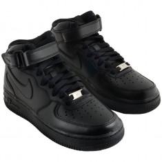 Ghete Nike Air Force 1 Negru total Dama-Barbati toate marimile UNISEX - Ghete dama, Marime: 36, 37, 38, 39, 40, 41, 42, 43, 44, Piele sintetica