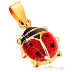 Pandantiv din aur 14K - gărgăriță mare, proeminentă acoperită cu smalț roșu și negru - Pandantiv aur