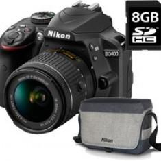 Nikon Kit Aparat foto Nikon D3400 (obiectiv AF-P 18-55 VR) + geanta Nikon + card 8GB SD, 3 ani garantie body