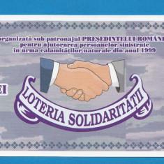 Bilet loto 10000 lei 1999 Loteria solidaritatii UNC - Bilet Loterie Numismatica