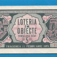 Bilet loto 5 lei 1973 Loteria in obiecte 1 - Bilet Loterie Numismatica