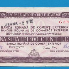 Bon 100 lei Cec de Calatorie Cheque de Voyage 2 - Bancnota romaneasca