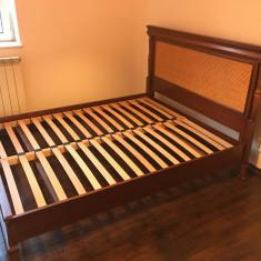 Pat lemn masiv 160 x 200 (fag, culoare cires) - Pat dormitor