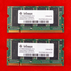 2X Memorie RAM Laptop 256MB DDR1-333MHz-CL2.5 PC2700S-2533-0-A1 Infineon #19