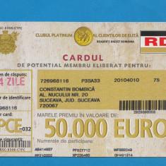 Bon 50000 euro cardul de potential membru - Bancnota romaneasca