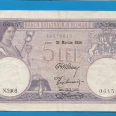 5 lei 1920 6 XF - Bancnota romaneasca