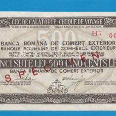 Bon 500 lei Cec de Calatorie Cheque de Voyage SPECIMEN aUNC - Bancnota romaneasca
