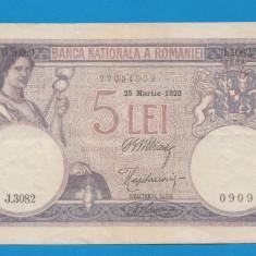 5 lei 1920 4 XF - Bancnota romaneasca