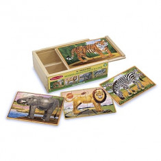 Set 4 Puzzle Melissa & Doug Lemn In Cutie Animale Salbatice Melissa And Doug