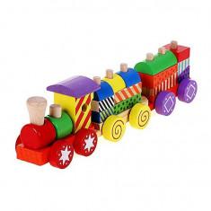 Jucarie tren pe roti din lemn cu parti detasabile