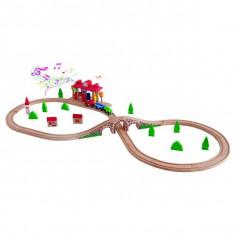 Jucarie Tren cu locomotiva si vagoane din lemn Sound Station Railway Set 90587 Woodyland