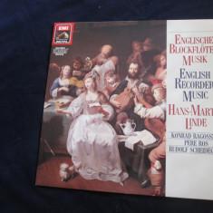 Hans-martin linde/konrad ragosnig/pere ros-english recorder music_vinyl, germania - Muzica Clasica emi records, VINIL