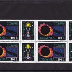 ROMANIA 1998 LP 1471 a ECLIPSA TOTALA DE SOARE DIN 1999 BLOC DE 4 MNH - Timbre Romania, Nestampilat