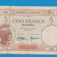 Noua Caledonie Indochina 5 francs 1926