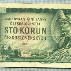 A1825 BANCNOTA-CEHOSLOVACIA- 100 KORUN - 1961-SERIA857597 -starea care se vede - bancnota europa
