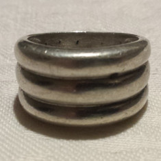 Inel argint vechi model brau pe 3 randuri retro vintage executat manual