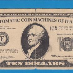 America SUA Bon 10 dollars Automatic coin machines ok Italy - bancnota america