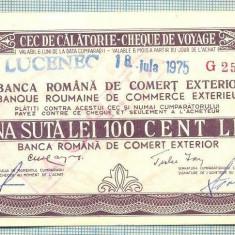 A1844 CEC DE CALATORIE -BRCE -100 LEI- 1975 -SERIA 2509320-starea se vede - Cambie si Cec