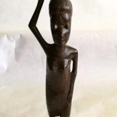 Statuie africana sculptata din lemn de abanos 19cm - Sculptura