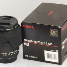 Obiectiv Sigma 18-200mm F3.5-6.3 DC PENTAX + filtru Kenko polarizare, All around, Stabilizare de imagine, Autofocus