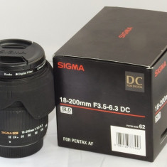 Obiectiv Sigma 18-200mm F3.5-6.3 DC PENTAX + filtru Kenko polarizare - Obiectiv DSLR Sigma, All around, Autofocus, Pentax - K, Stabilizare de imagine