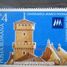 1977  LP 941  CENTENARUL MARCII POSTALE DIN SAN MARINO
