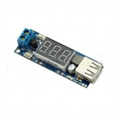 DC-DC converter step-down, IN:4.5-40V, OUT:5V, (2A) USB + voltmetru - Convertor