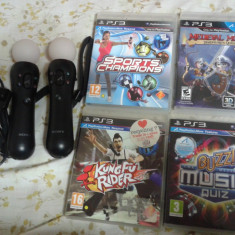 Pachet accesorii ps3, move controler, sony, camera ps3, 4 jocuri move - PlayStation 3
