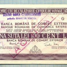 A1848 CEC DE CALATORIE -BRCE -100 LEI- 1975 -SERIA 143722-starea se vede - Cambie si Cec