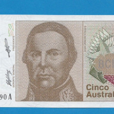 Argentina 5 australes ND 1985 1989 UNC - bancnota america