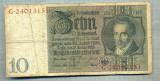 A1740 BANCNOTA-GERMANIA- 10 MARK -22.1.1929-SERIA24013151 -starea care se vede