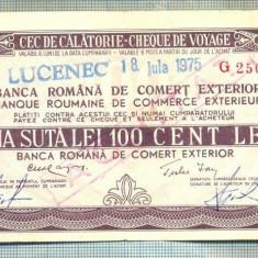 A1837 CEC DE CALATORIE -BRCE -100 LEI- 1975 -SERIA 2509326-starea se vede - Cambie si Cec