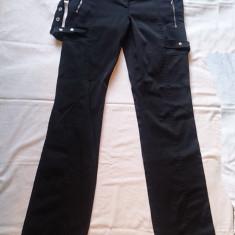 Pantaloni moderni cu capse, aproape noi, marime S/M - Pantaloni dama, Marime: M, Culoare: Negru