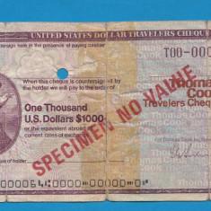 America SUA Bon 1000 dollars SPECIMEN - bancnota america